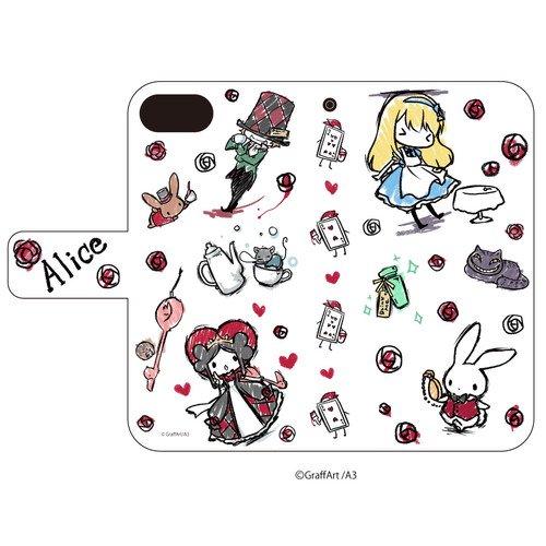 手帳型スマホケース(iPhone6/6s/7/8兼用)「童話シリーズ」01/不思議の国のアリス(グラフアートデザイン)