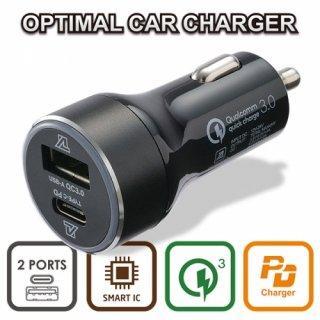 alumania OPTIMAL CAR CHARGER PD+QC Type-C & USB MAX45W シガーソケット 12/24V車対応