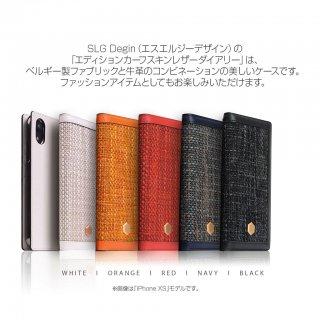 国内正規品 SLG Design iPhone12/12Pro(6.1インチ)手帳型 Edition Calf Skin Leather Diary ベルギー製ファブリックと牛革のコンビネーション