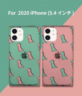 国内正規品 AKAN エイカン iPhone 12 mini(5.4インチ)スクエアケース ダイナソーパターン 四隅をしっかり保護するかわいいイラスト