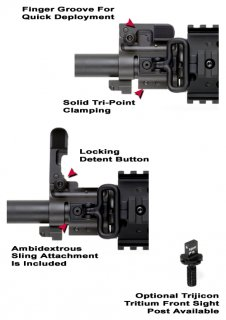 GG&G AR Bolt On Flip Up Front Sight Gas Block System