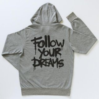 <img class='new_mark_img1' src='//img.shop-pro.jp/img/new/icons3.gif' style='border:none;display:inline;margin:0px;padding:0px;width:auto;' />MBW apparel FOLLOW YOUR DREAMS ZIP PARKER GRAY(エムビーダブリュー アパレル フォローユアドリームス ジップパーカー グレー)