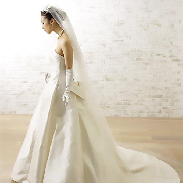 【オーダー】Cli'O mariage (クリオマリアージュ)<br>シンプルベールロング丈イタリアチュール【お届けまで約1週間/前払い】<br>CV-101-IL