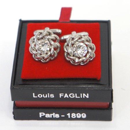 Louis FAGLIN (ルイファグラン)<br>チェーンモチーフ クリスタルカフスボタン (カフリンクス)<br>ao定番00421