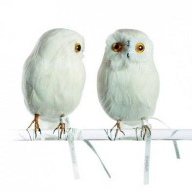 【セール30%OFF】<br>PUEBCO (プエブコ) ARTIFICAL BIRDS Owl ホワイトフクロウオブジェ<br>【在庫限り】【取り寄せ不可】ot定番00089