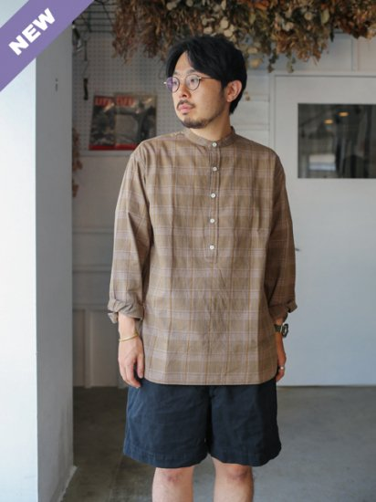 """maillot """"mature twill check pull over stand shirt"""""""