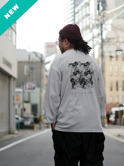 "LOTUS LAND ""mbenga tesselation L/S Tee(CEMENT)"""