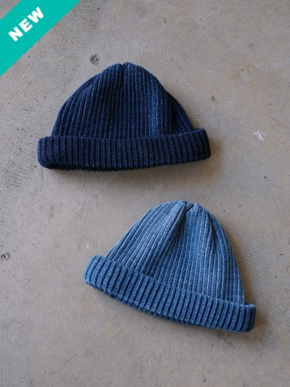 "RoToTo(ロトト) ""INDIGO COTTON ROLL UP BEANIE(2colors)"""