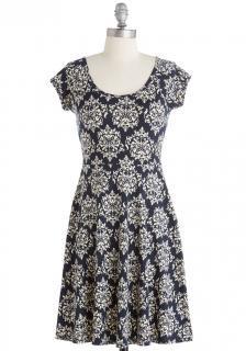 【即納】 ModCloth (モドクロス) ネイビー ダマスク ワンピース ドレス