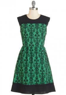 【即納】 ModCloth (モドクロス) グリーン ダマスク ワンピース ドレス