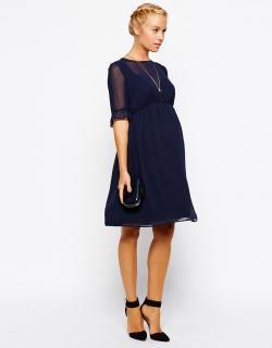 ASOS (エイソス) マタニティ ネイビー フリル シフォン ワンピース ドレス