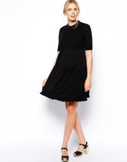 ASOS (エイソス) マタニティ ブラック ニット 襟有り ワンピース ドレス