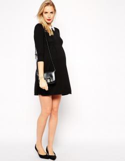 ASOS (エイソス) マタニティ ブラック レース襟有り ワンピース ドレス