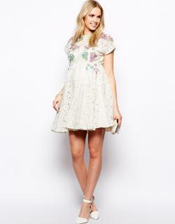 ASOS (エイソス) マタニティ 花柄 刺繍 ワンピース ドレス