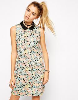 ASOS (エイソス) 花柄 ヴィンテージ 襟有り ワンピース ドレス