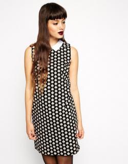 【即納】ASOS (エイソス) 貝柄 ヴィンテージ 襟有り ワンピース ドレス