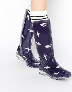 ASOS (エイソス) ツバメ柄 長靴 レインブーツ