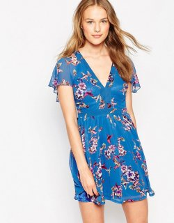 ASOS (エイソス)  鳥柄 ブルー ワンピース ドレス