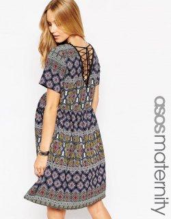 ASOS (エイソス) マタニティ フォークプリント ワンピース ドレス