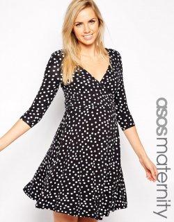 ASOS (エイソス) マタニティ 白黒 水玉 ワンピース ドレス