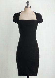 ModCloth (モドクロス) ブラック スクエア ネックライン ワンピース ドレス
