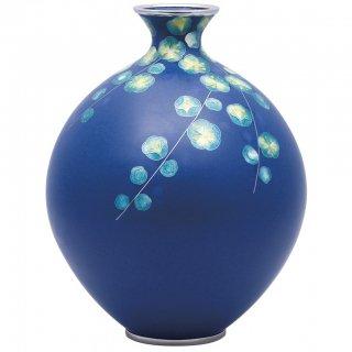 七宝焼き 花瓶 80号玉型紺地梅 田村 丈雅作