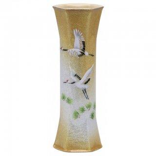 七宝焼き 花瓶 一輪ざし 六角 松に鶴