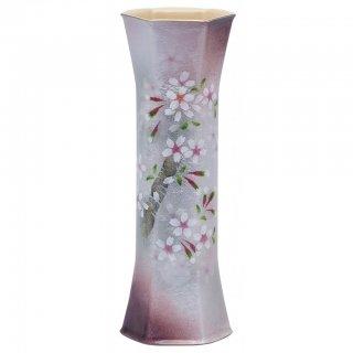七宝焼き 花瓶 一輪ざし 六角 桜