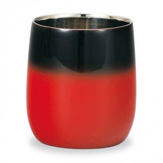 山中漆器 漆磨二重ロックカップ ダルマ 赤彩