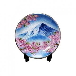 七宝焼き 飾皿 8丸富士桜