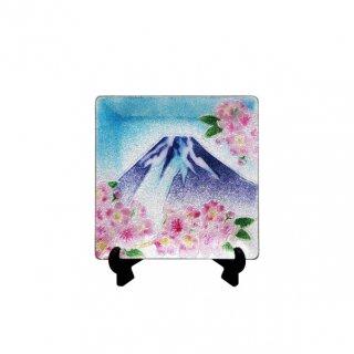 七宝焼き 飾皿 44富士に桜