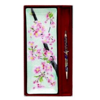 七宝焼き ペン皿回転式ボールペンセット 桜(大)