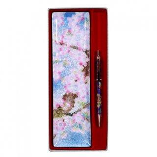 七宝焼き ペン皿 ノック式ボールペンセット 桜(小)