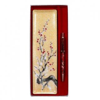 七宝焼き ペン皿 ノック式ボールペンセット 金地梅(小)