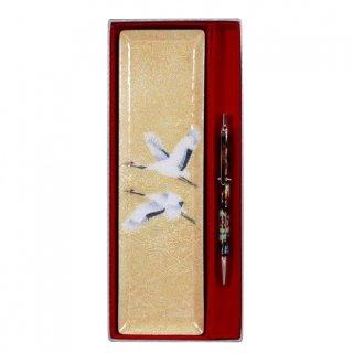 七宝焼き ペン皿 回転式ボールペンセット 双鶴(小)