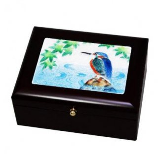 七宝焼き 卓上小物 アクセサリーBOX(小)カワセミ