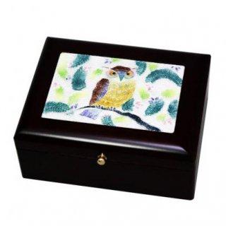 七宝焼き 卓上小物 アクセサリーBOX(小)フクロウ