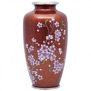 七宝焼き 花瓶 80号 並赤地さくら