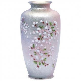 七宝焼き 花瓶 80号 並紫地さくら