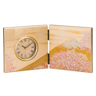 山中漆器 屏風時計 富士雅桜(中)