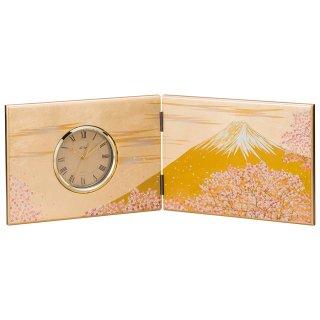 山中漆器 木製屏風時計 富士雅桜