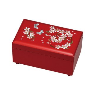 山中漆器 さくら野 ミニ宝石箱 赤