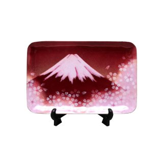 七宝焼き 飾皿 46赤富士桜