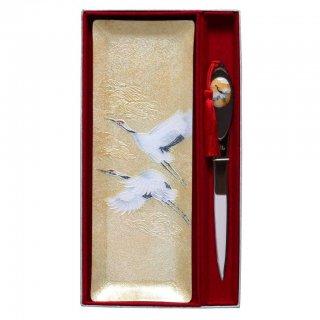 七宝焼き ペン皿ペーパーナイフセット 金鶴(大)