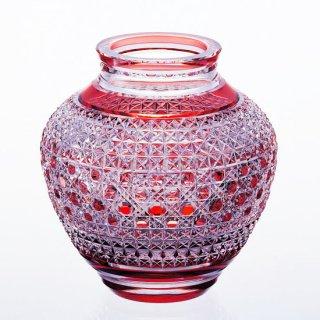 江戸切子 花瓶<麻の葉に八角籠目紋> KAGAMI