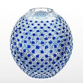 江戸切子 瑠璃色被毬型花瓶<八角籠目紋> KAGAMI