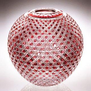 江戸切子 金赤色被毬型花瓶<八角籠目紋> KAGAMI