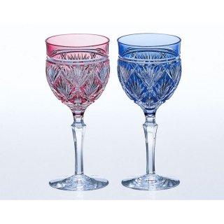 江戸切子 ペアワイングラス<笹っ葉紋> KAGAMI