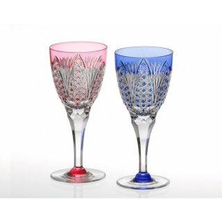 江戸切子 ペアワイングラス<笹っ葉に四角籠目紋> KAGAMI