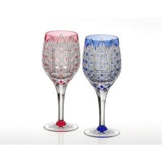 江戸切子 ペアワイングラス<笹っ葉に八角籠目紋> KAGAMI